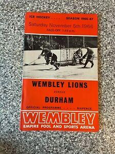 Wembley Empire Pool - Wembley Lions - Ice Hockey Programme 05/11/1966