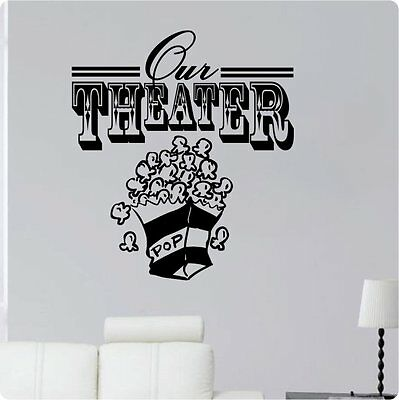 """24"""" Our Theater Popcorn Movie Wall Decal Sticker Home Den Decor Mural Art"""