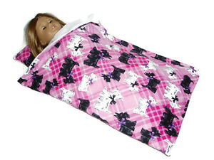 Scottie-Dog-Sleeping-Bag-fits-American-Girl-Dolls-18-034-Doll-Clothes-Pink-Plaid