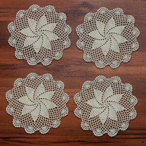 4Pcs-Lot-Vintage-Hand-Crochet-Lace-Doilies-Round-Floral-Table-Placemats-10-034-11-034