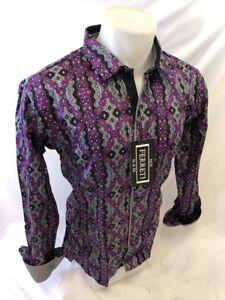 Men-FERRETI-By-BARABAS-Designer-Dress-Shirt-Woven-Purple-GEOMETRIC-SLIM-FIT-4201
