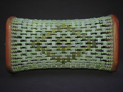 Chinese Threaded Carved Green Soapstone Beaded Opium Headrest Meditation Pillow