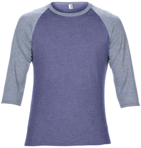 Anvil Adult Triblend 3//4 Sleeve Raglan Tee 6755 Men Two Tone BaseBall Shirt Top