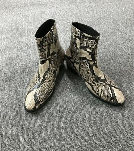 Mens Ankle Boots Leather Pointed Toe Motor Snakeskin Pattern Chelsea Zip Shoes
