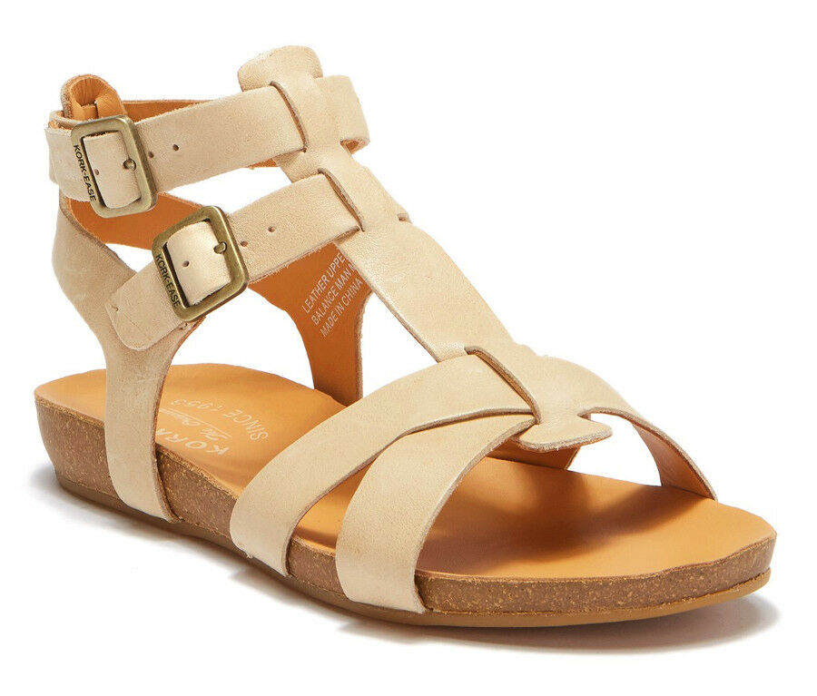 NIB Kork-Ease Doughty Gladiator Double Ankle Strap Leather Sandal US 8 Natural
