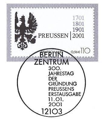 Kreativ Brd 2001: Preußen 300 Jahre! Nr. 2162 Mit Berliner Ersttags-sonderstempel! 1a!