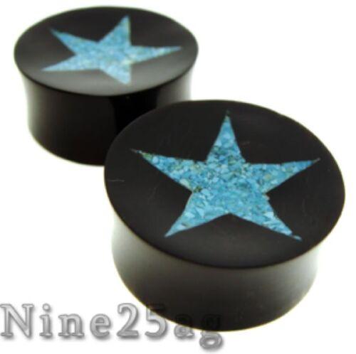 25MM BONE /& HORN 1/' INCH CRUSHED TURQUISE STAR PLUGS