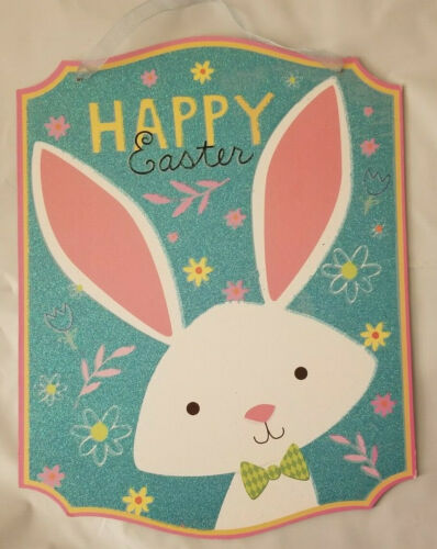 """Happy Easter Bunny Hanging Sign Decor 10.5/""""X13.5/"""" w"""