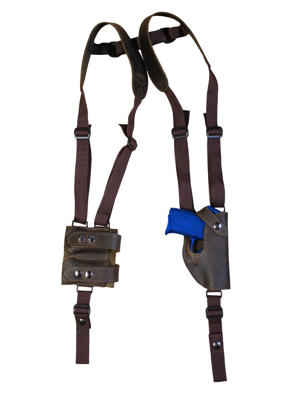 Nueva Funda Barsony marrón cuero hombro bolsa del Mag Ruger Kimber UltraComp 9 40