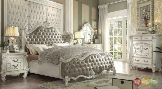Versailles Bone White 4 Pcs California King Bedroom Sets For Sale