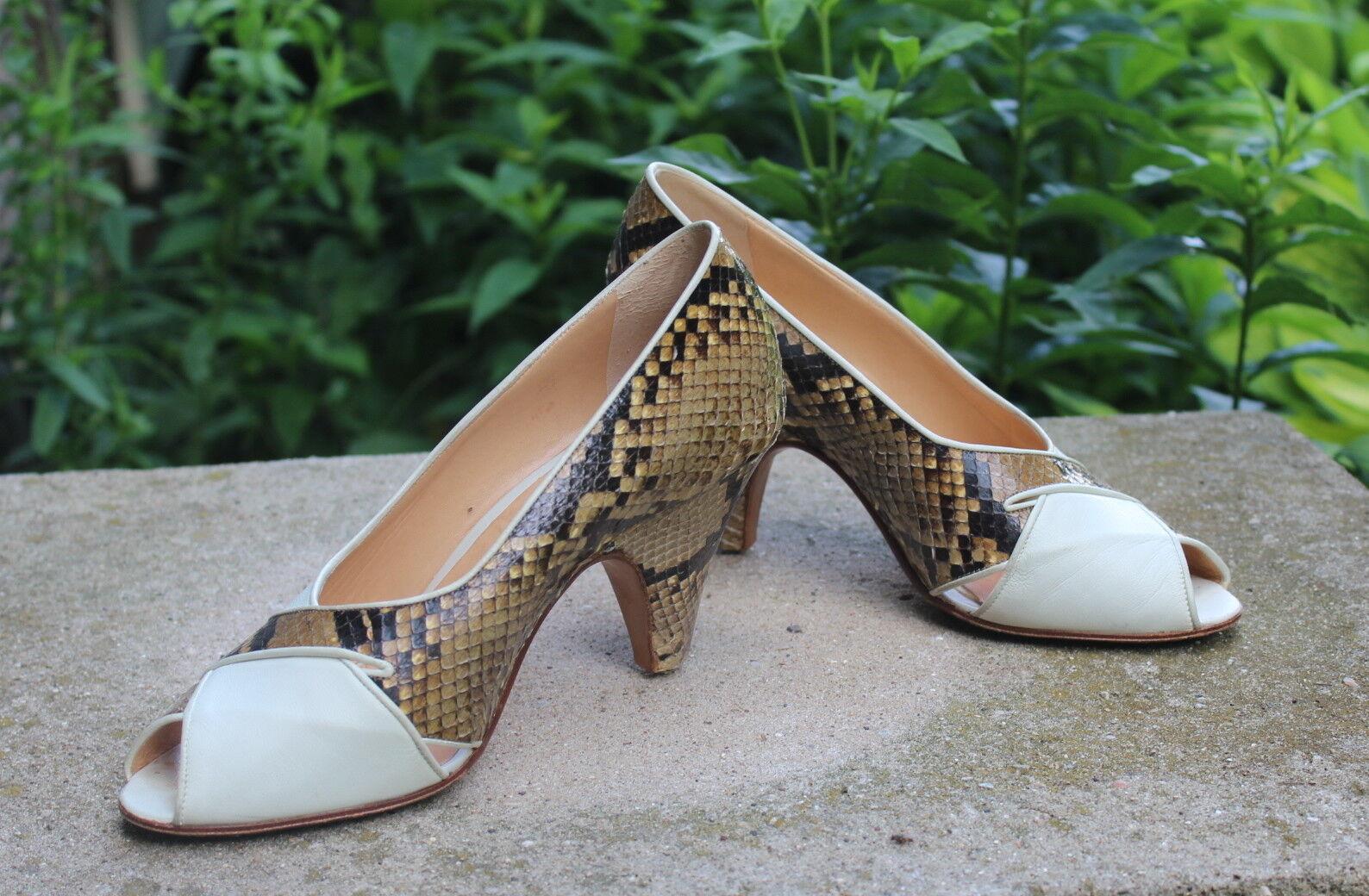 Maud Frizon-Talla 37 37 37 6 Sin Puntera fabuloso MARFIL exótico Pitón Zapatos de salón  a la venta