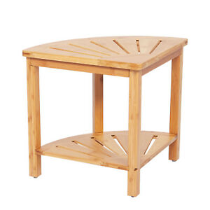 Bathroom Corner Shower Bath Stool Seat Spa Bench Bamboo Table W/ Storage Shelf
