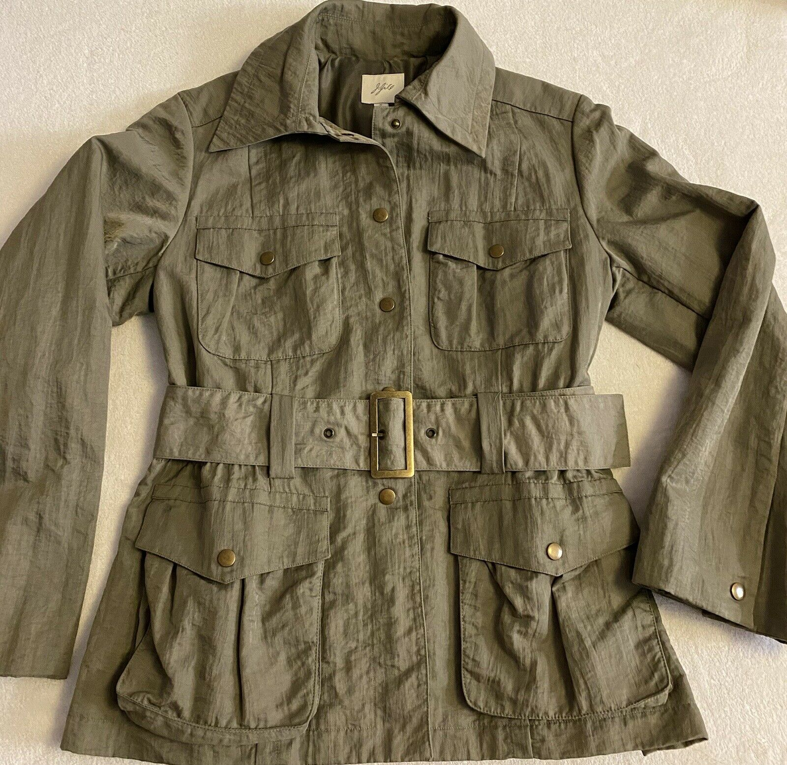 J Jill Olive Green SILKY BELTED Military TRENCH C… - image 1
