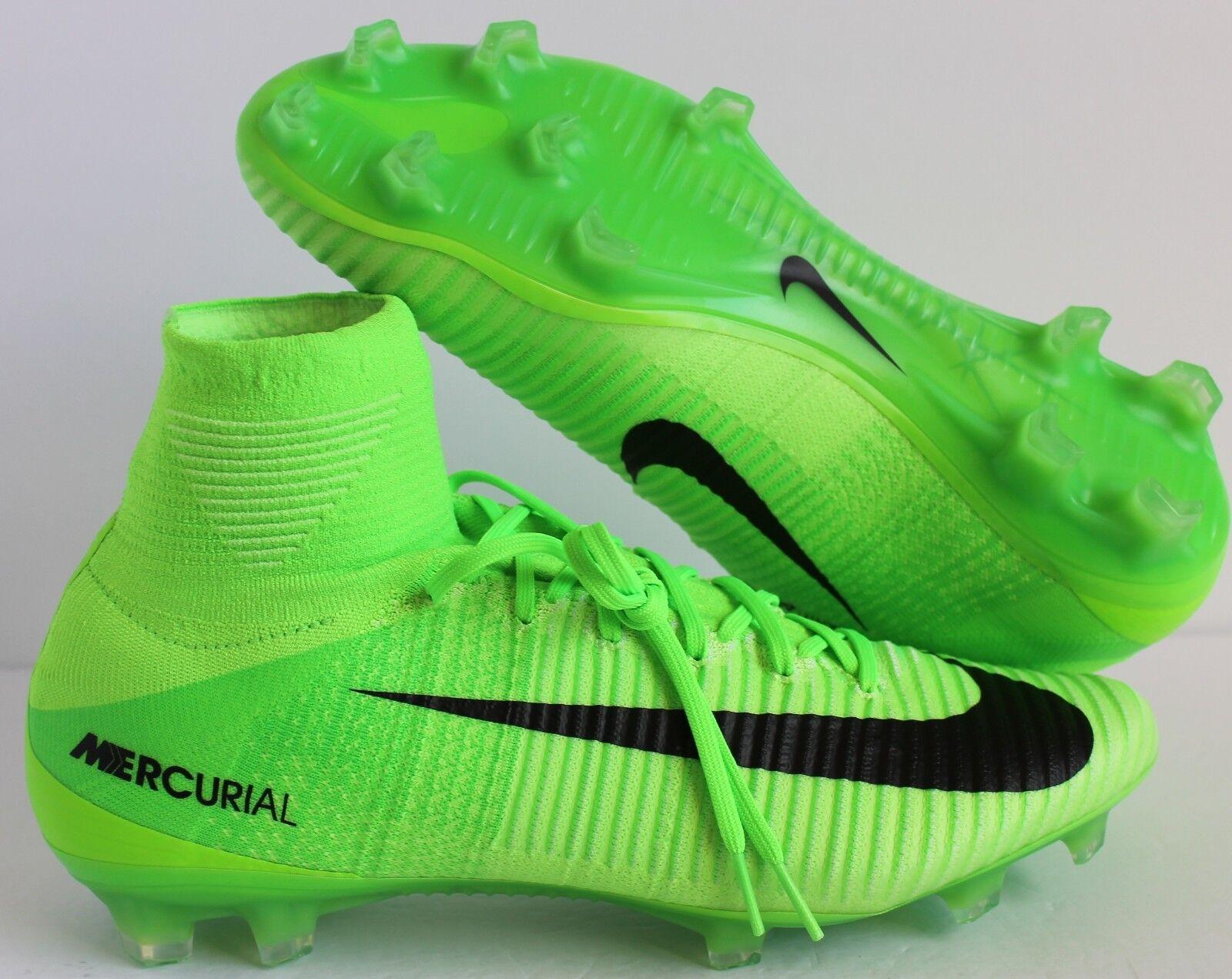 Para Hombre Nike Mercurial Superfly V FG Color verde ELÉCTRICO-NEGRO Talla 6 [831940-305]