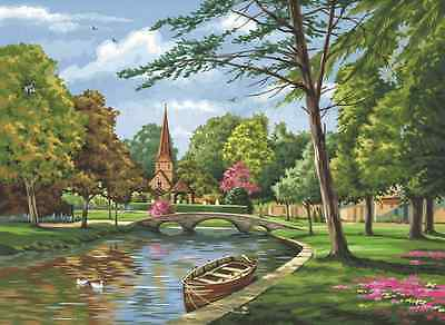CHURCH BY THE RIVER & BOAT PAINTING ACRYLIC PAINT BY NUMBERS BOX CANVAS KIT PCL4