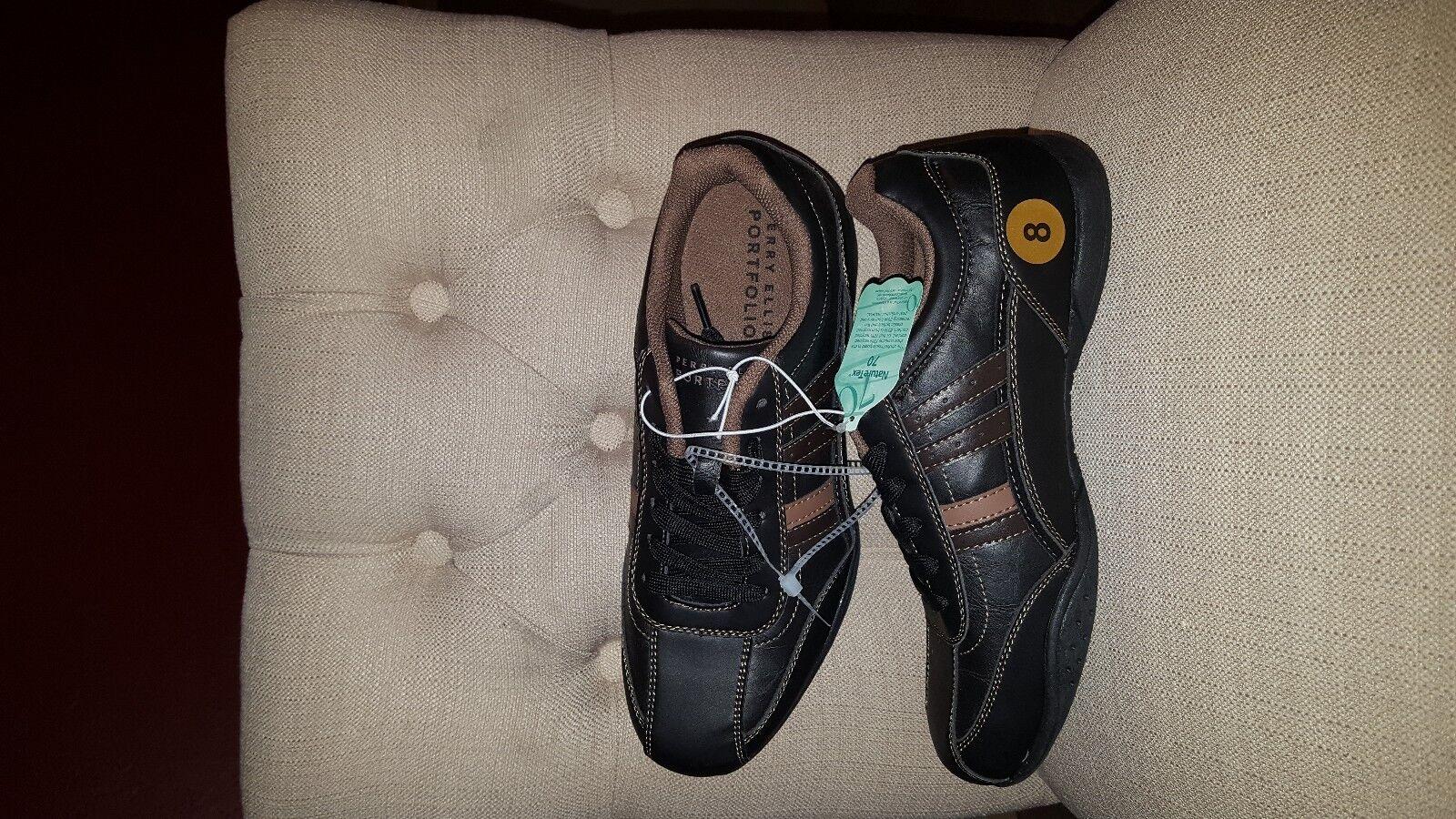 PERRY ELLIS AMERICA Men's casual leather walking shoe Brown Size 8