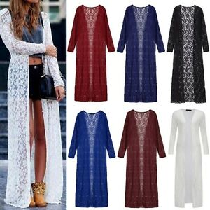 UK Boho Women Long Sleeve Draped Lace Abaya Long Maxi Jacket ...