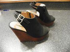 Soda Women Wedge Shoes Open Toe Black Platform Size 7.5  __________________ R1A