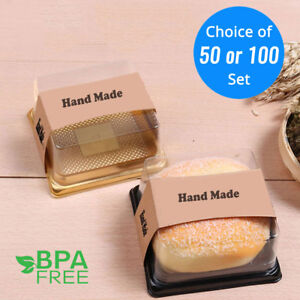 50-100-Square-BPA-Free-Plastic-Black-Gold-Cake-To-Go-Container-Box-w-Clear-Lid