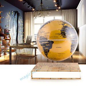 schwebender deko globus weltkugel schwebeglobus in gold schwarz mit beleuchtung ebay. Black Bedroom Furniture Sets. Home Design Ideas