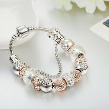 SILVER, ROSE GOLD & DIAMANTE European Charm Bracelet 19cm