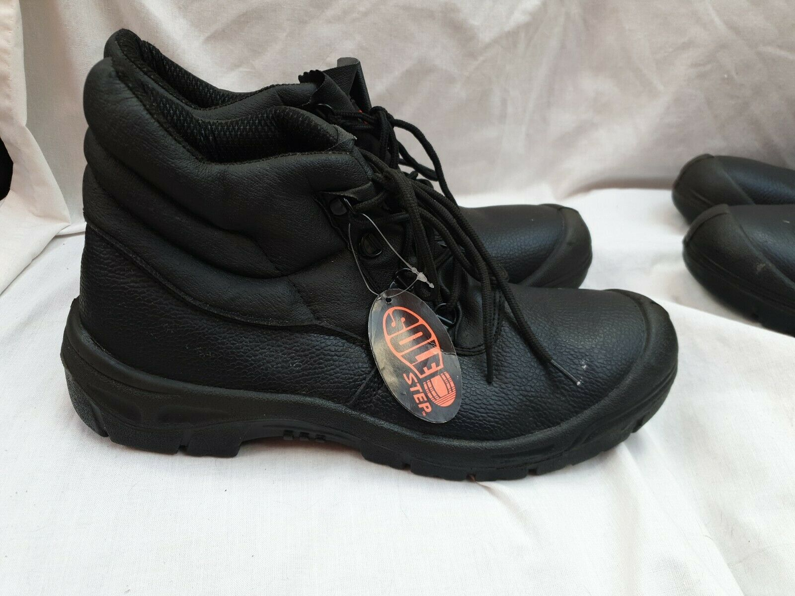 2 PAIRS MEN'S BLACK LEATHER WORK BOOTS SIZE UK 12, Steel Toe Caps Safety NEW