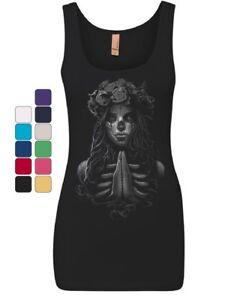 Pray-Girl-Women-039-s-Tank-Top-Calavera-Day-of-the-Dead-Dia-de-los-Muertos-Top