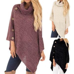 Women-Ladies-Turtle-Neck-Warm-Poncho-Jumper-Sweater-Knitted-Cape-Wrap-ShawlBDAU