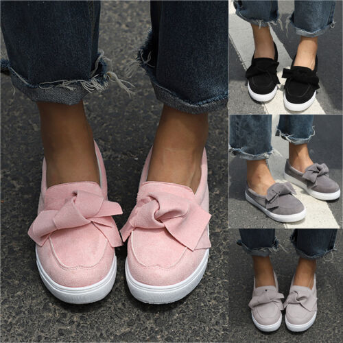 UK Womens Ladies Casual Bowknot Slip On FlatS Shoes Pumps Trainers Loafers Size