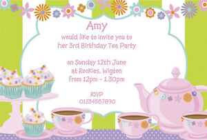10 personalised kids party invitations girls tea party limited