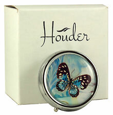 Cute Pill Box For Purse Decorative Case Blue Butterfly Holder Vitamin Mint Metal