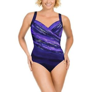 NWT-Women-039-s-MIRACLESUIT-Eggplant-SWIMSUIT-by-Kirkland-Bathing-Suit-Size-14