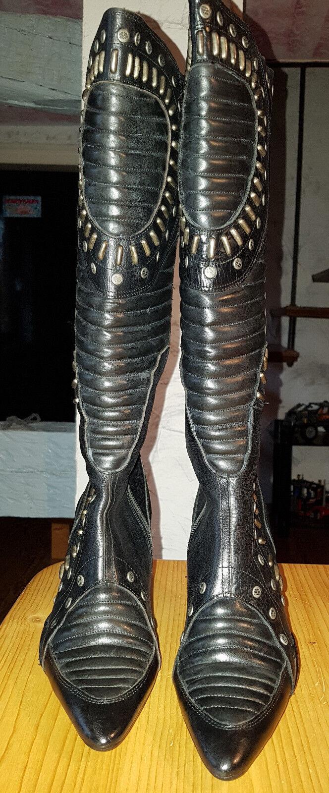 Designer Damen Lederstiefel Gr.38 echt Leder schwarz