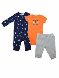 Grey//Orange Carter/'s Baby Boys Bodysuit//Romper//Pant Tiger /& Animals 3-Piece Set