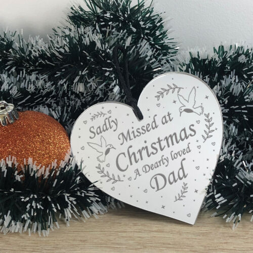 Christmas Memorial Decoration For Dad Mirror Acrylic Heart Tree Decoration Gift