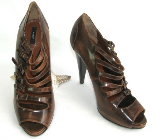 BALLY Court shoes flange heels patent leather brown moderate 40 9US MINT