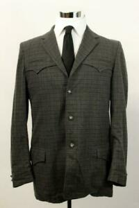 Vintage-ALLEN-Check-Western-Blazer-Jacket-Sport-Coat-SOFT-TWEED-Rodeo-Ranch-40-L