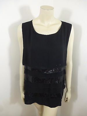 Avenue Black Sleeveless Tier Sequin Stretch Woman Top Blouse Plus Size 22/24