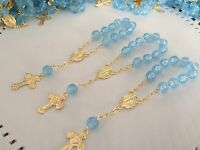 50 Recuerdos De Bautizo /mini Rosary Blue Baptism Favors / Communion Favors