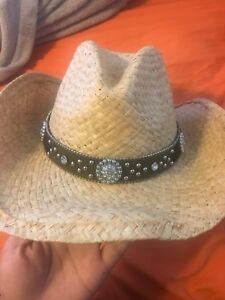 Image is loading Brand-New-sparkly-straw-cowboy-cowgirl-hat 951a2f0caeb