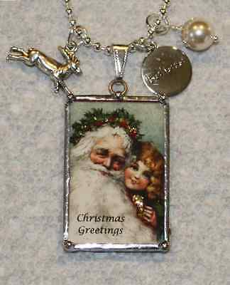 HANDSOME VICTORIAN SANTA  &  MERRY CHRISTMAS WISH REVERSIBLE POSTCARD NECKLACE