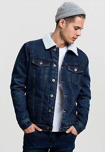 URBAN CLASSICS Jacket Men s Jeans Sherpa Denim Jacket Dark blue ... 5507479b3221