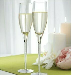Wedding-Champagne-2-Flutes-With-Glass-Gems-In-Stems-by-Weddingstar-New