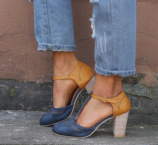 Fashion Ladies T Strap Closed Toe Roman Block High Heel Closed Toe Sandals 35-43
