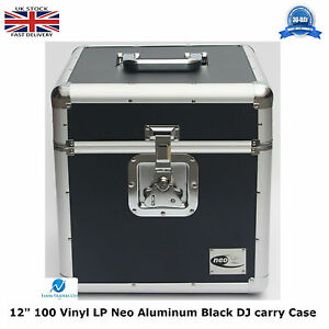 1-X-NEO-Aluminium-Black-DJ-Flight-Case-to-Store-100-Vinyl-LP-12-034-Records-STRONG