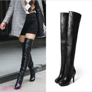 0f3058cf315 Womens Leather Over the Knee High Boots Pumps High Heel Sexy Thigh ...
