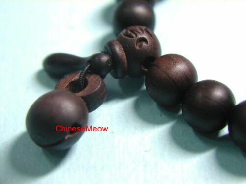 ~ Chinese Feng Shui 12mm 19 Beads Prayer Bracelet Dark Wooden Fish mokugyo #311