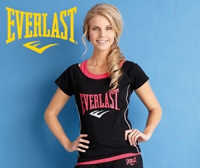 Everlast Womens Black & Pink Mock Layer Fitness Training T Shirt Top 8 Free Ship