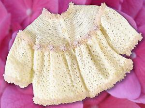 Frilled-Matinee-Jacket-Crochet-Pattern-4P-amp-DK-AllSize