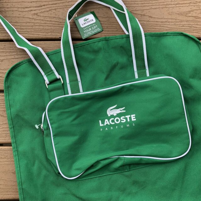 Lacoste Garment Travel Bag Weekender Carry On Duffle Green White Nwt